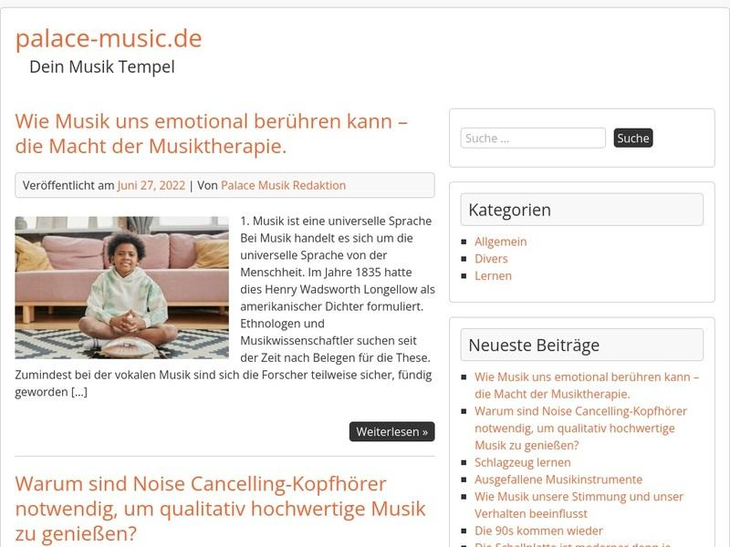 Screenshot von www.palace-music.de